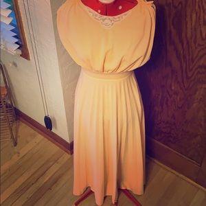 Vintage peach 1970s boho dress pleated maxi